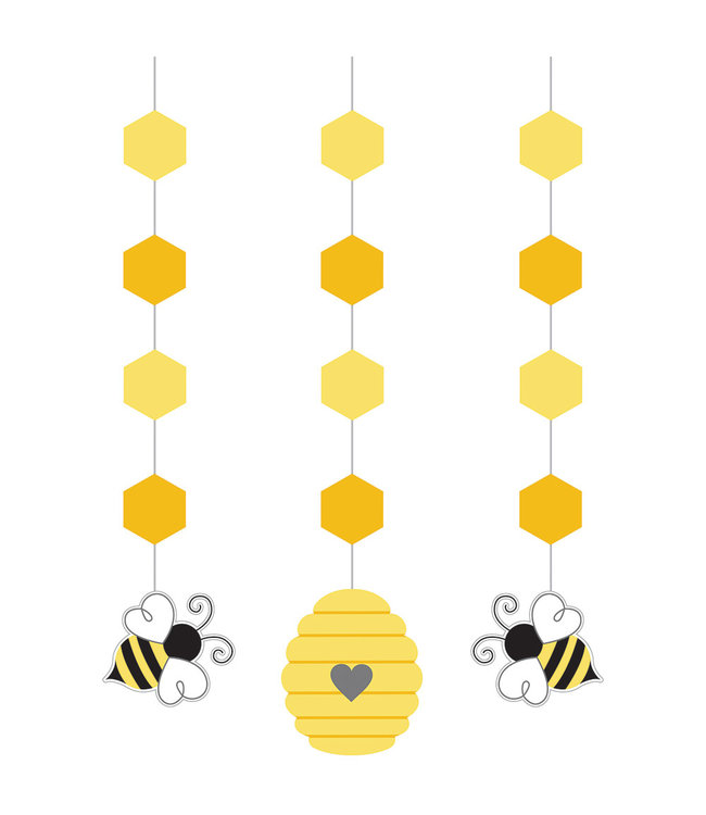Creative Party Bumblebee Hangdecoraties - 3 stuks - Bee Party