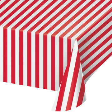 Creative Party Circus Tafelkleed Rood en Wit Gestreept - per stuk - Circus Party