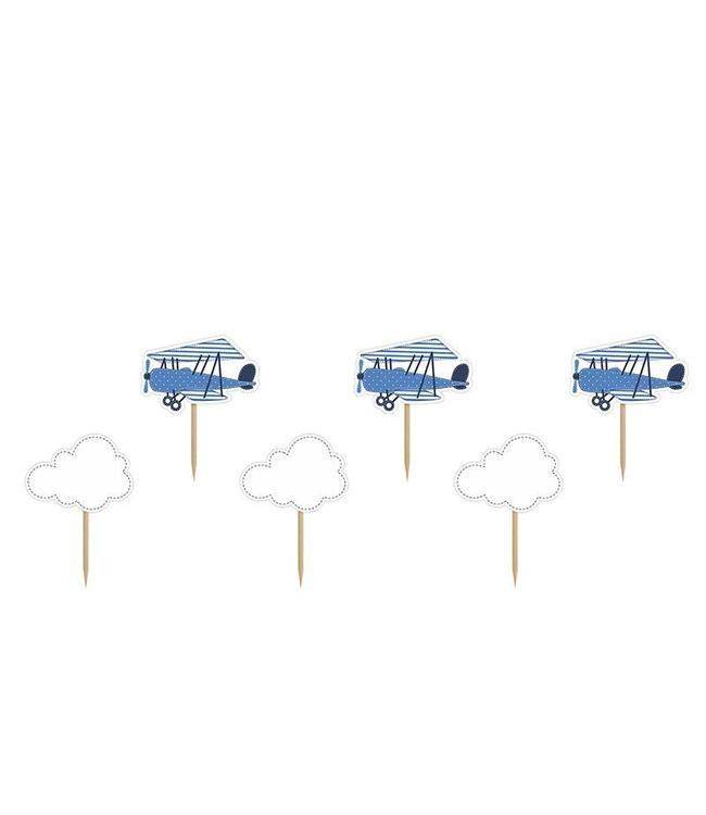 Partydeco Vliegtuigjes Cupcake Toppers - 6 stuks