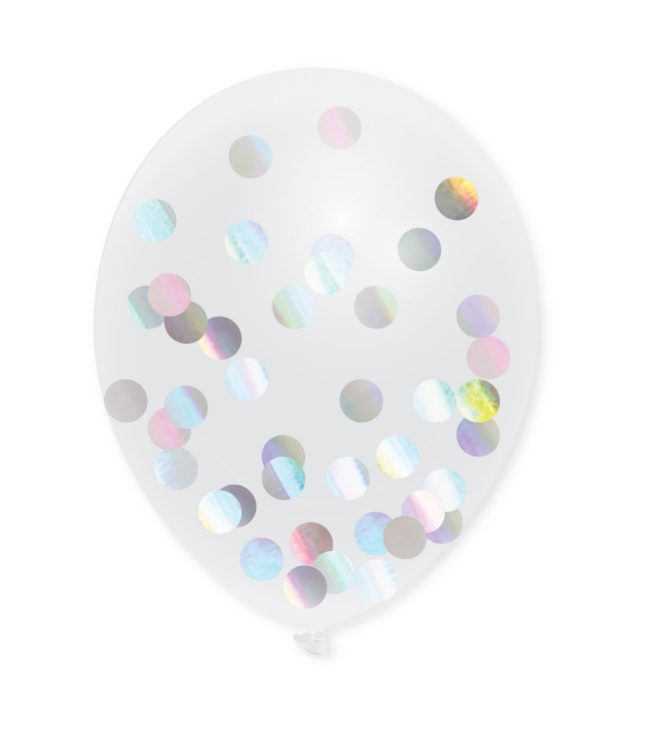 Haza Confetti Ballonnen Holografisch (Transparant) - 5 stuks