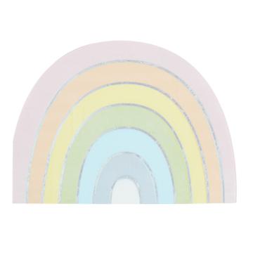 Ginger Ray Pastel Rainbow Servetten - 16 stuks - Regenboog pastel feestartikelen