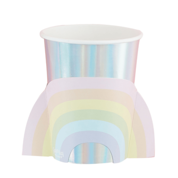 Ginger Ray Pastel Rainbow Bekers - 8 stuks - Regenboog pastel feestartikelen