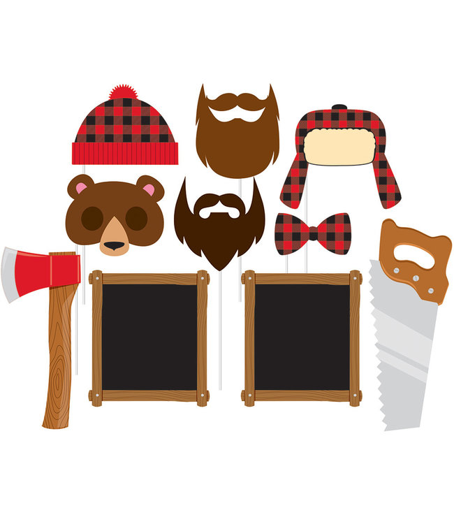 Creative Party Lumberjack Photo Props - set van 10 - Woodland Feestartikelen