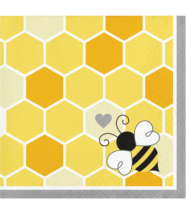 Creative Party Bumblebee Servetjes - 16 stuks - Bee Party