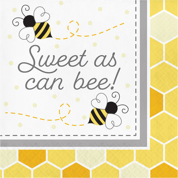 Creative Party Bumblebee Servetten 'Sweet as can Bee' - 16 stuks - Bee Party