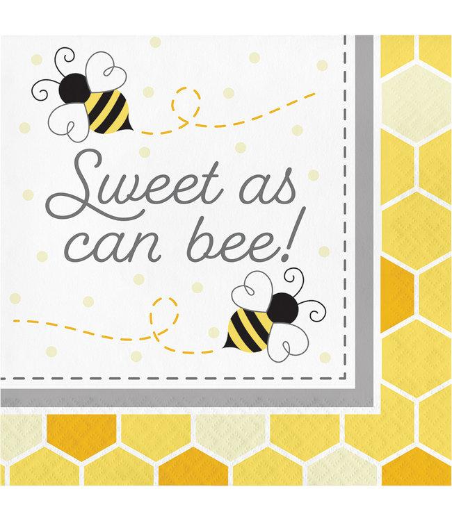 Creative Party Bumblebee Servetten 'Sweet as can Bee' - 16 stuks - Bee Party
