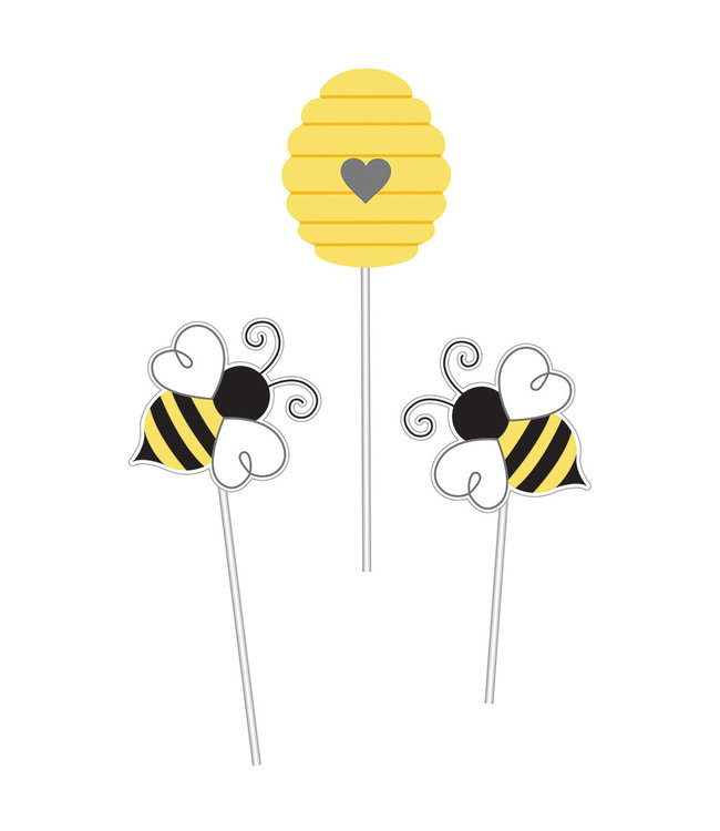 Creative Party Bumblebee Decoratie Stokjes - set van 3 - Bee Party