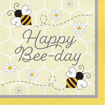 Creative Party Bumblebee Servetten 'Happy Bee-Day' - 16 stuks - Bee Party