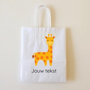 by Hieppp Goodiebags Giraffe - 10 stuks - Tasjes met jouw eigen tekst