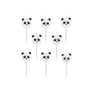 My Little Day Mini Panda Kaarsjes - 8 stuks - Feestartikelen voor een panda feestje