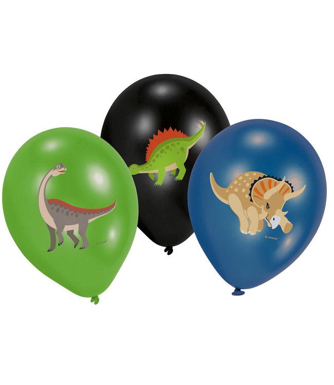 Amscan Dinosaurus Ballonnen (3 kleuren) - 6 stuks - Dinosaurus feestartikelen
