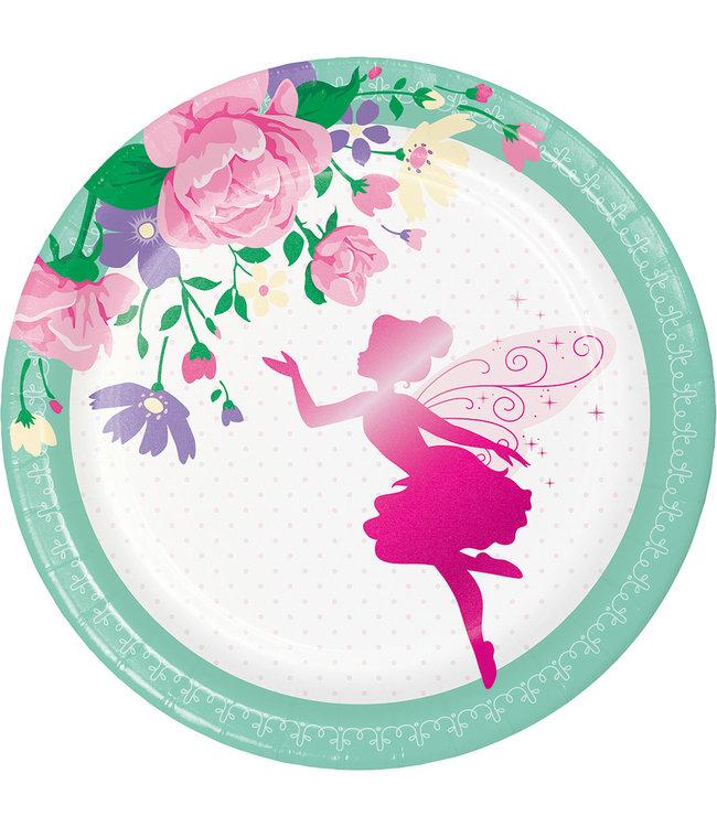 Creative Party Fairy Bordjes - 8 stuks - Floral Fairy Sparkle voor een feeën feestje