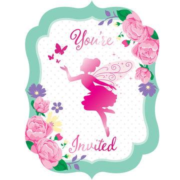 Creative Party Fairy Uitnodigingen - 8 stuks - Floral Fairy Sparkle voor een feeën feestje