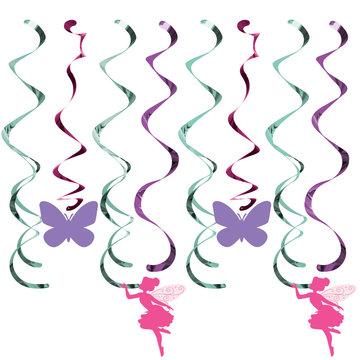 Creative Party Fairy Hangdecoraties - 5 stuks - Floral Fairy Sparkle voor een feeën feestje