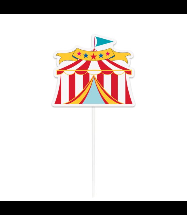 Unique Circus Tent Taarttopper - per stuk - Cake topper voor een circusfeestje