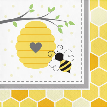 Creative Party Bumblebee Servetten- 16 stuks - Bee Party