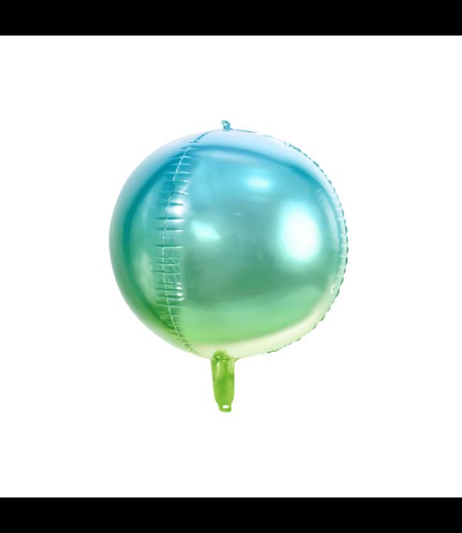Partydeco Orbz Folieballon Ombre Blauw en Groen - per stuk - Orbz ballonnen