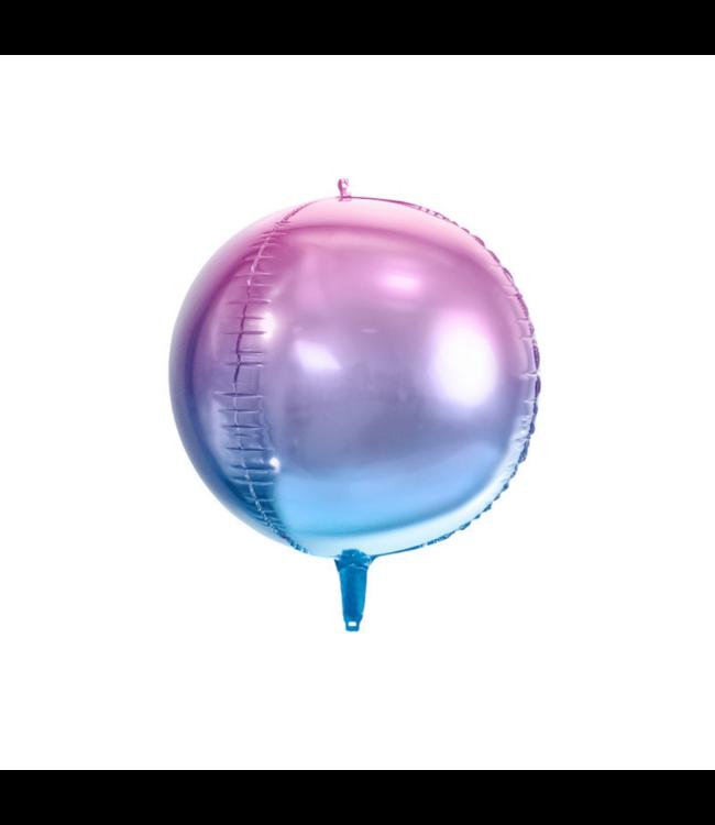 Partydeco Orbz Folieballon Ombre Paars en Blauw - per stuk - Orbz ballonnen