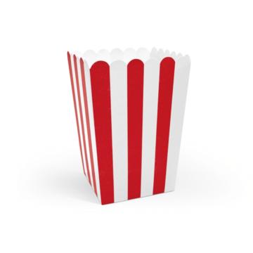 Partydeco Popcorn Bakjes Rood Gestreept - 6  stuks