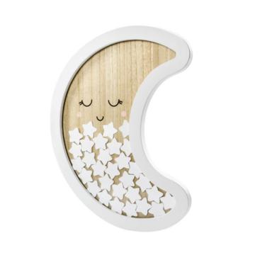 Partydeco Maan Frame (Hout) met Sterretjes - per stuk - gastenboek/ decoratie