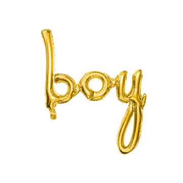 Partydeco Boy folieballon (Goud) - per stuk - Geboorte folieballonnen