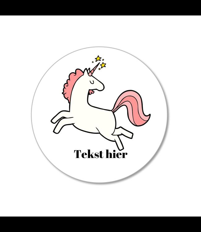 Hieppp Traktatie Stickers Eenhoorn - Rond - Personaliseer