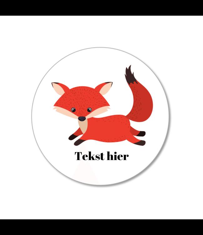 Hieppp Traktatie Stickers Vos - Rond - Personaliseer