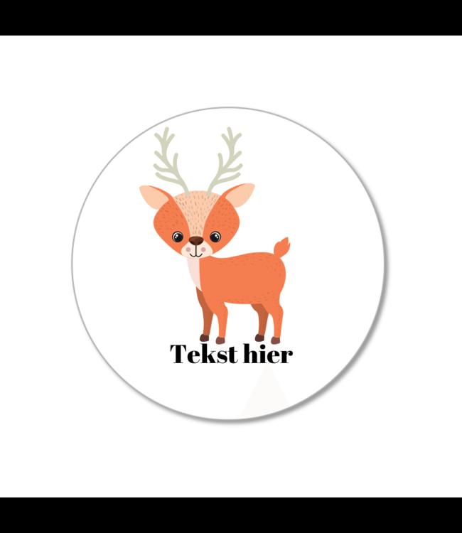 Hieppp Traktatie Stickers Hert - Rond - Personaliseer