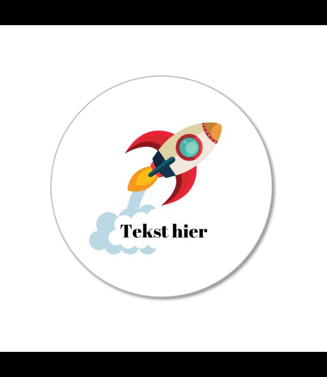 Hieppp Traktatie Labels Raket - Rond - Personaliseer