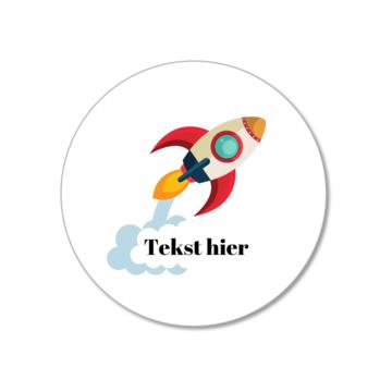 Hieppp Stickers Raket - Rond - Personaliseer