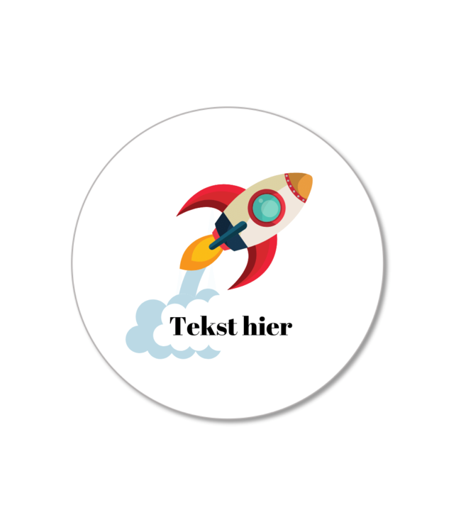 Hieppp Traktatie Stickers Raket - Rond - Personaliseer