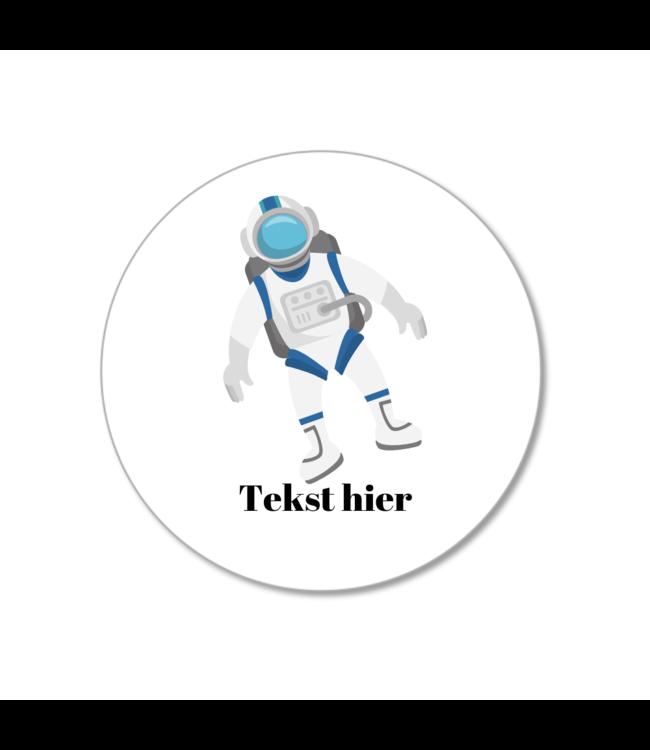 Hieppp Traktatie Stickers Astronaut - Rond - Personaliseer