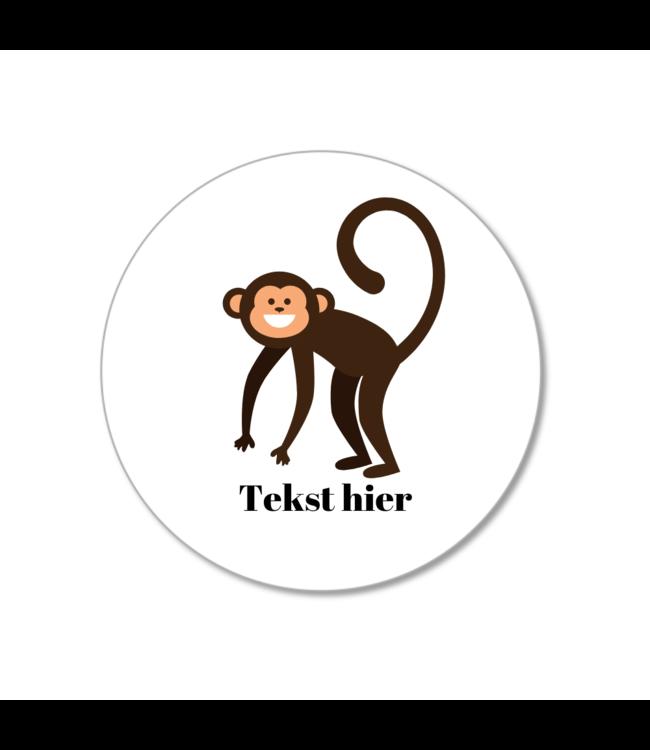 Hieppp Traktatie Stickers Aap - Rond - Personaliseer