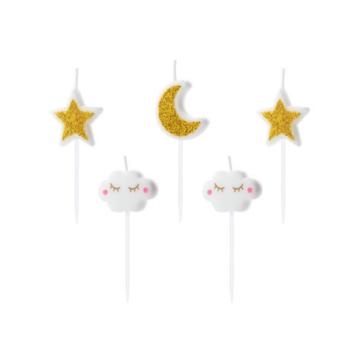 Partydeco Taartkaarsjes Maan, Sterren en Wolkjes - 5 stuks - Twinkle Twinkle Little Star