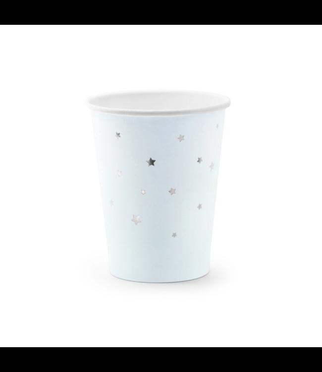 Partydeco Bekers Lichtblauw met Zilveren Sterren - 6 stuks
