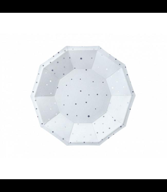 Partydeco Bordjes Lichtblauw met Zilveren Sterren - 6 stuks - Kartonnen Borden