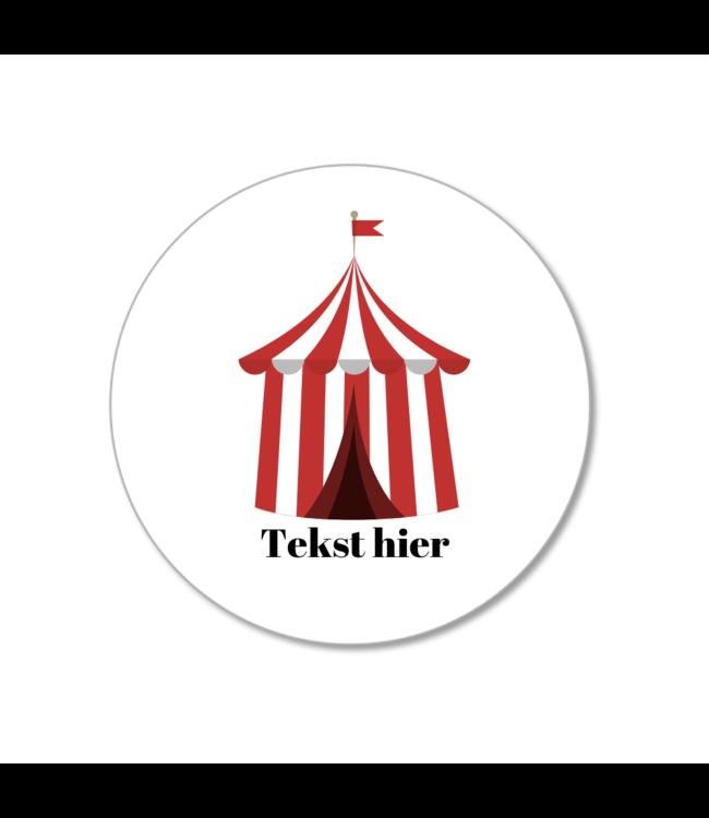 Hieppp Traktatie Labels Circustent - Rond - Personaliseer