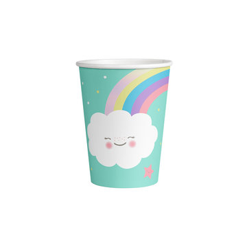 Amscan Rainbow & Cloud Bekers - 8 stuks - Regenboog en Wolk Feestje
