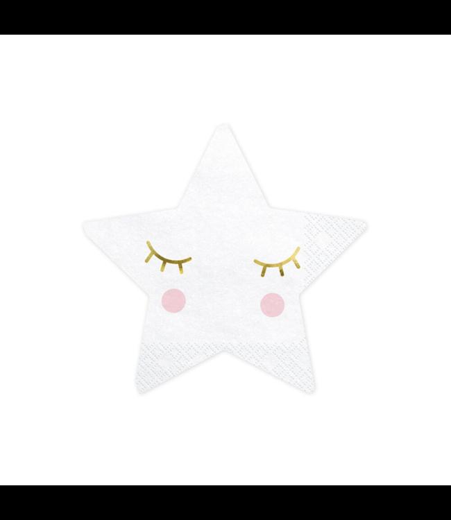 Partydeco Twinkle Twinkle Ster Servetten - 20 stuks - Twinkle Twinkle Little Star