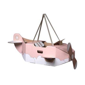Mister Tody Vliegtuig Roze - per stuk - Mister Tody kartonnen speelgoed