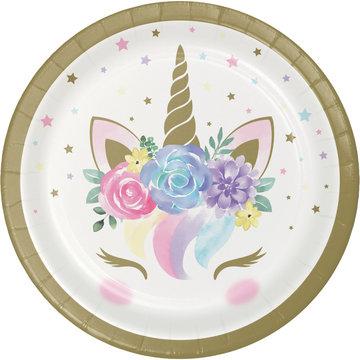Creative Party Unicorn Bordjes - 8 stuks - Eenhoorn feestartikelen en versiering