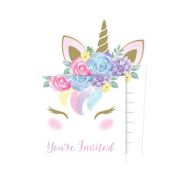 Creative Party Unicorn Uitnodigingen - 8 stuks - Eenhoorn feestartikelen en versiering