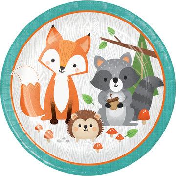 Creative Party Woodland Animals Borden - 8 stuks - Bosdieren feestartikelen en versiering