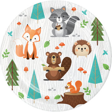 Creative Party Woodland Animals Bordjes - 8 stuks - Bosdieren feestartikelen en versiering