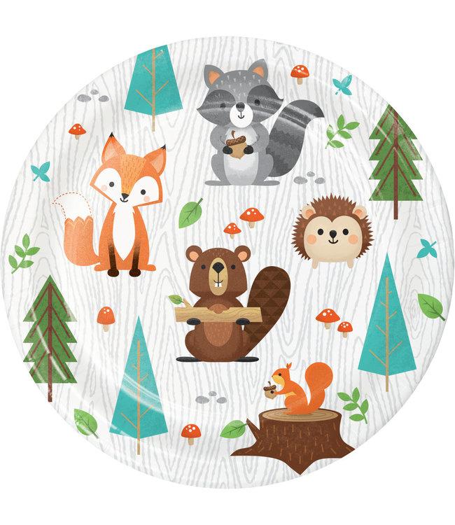 Creative Party Woodland Animals Bordjes - 8 stuks - Bosdieren feestartikelen en versiering