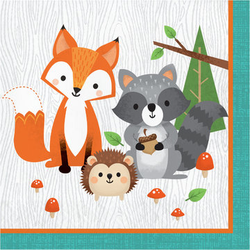 Creative Party Woodland Animals Servetten - 16 stuks - Bosdieren feestartikelen en versiering