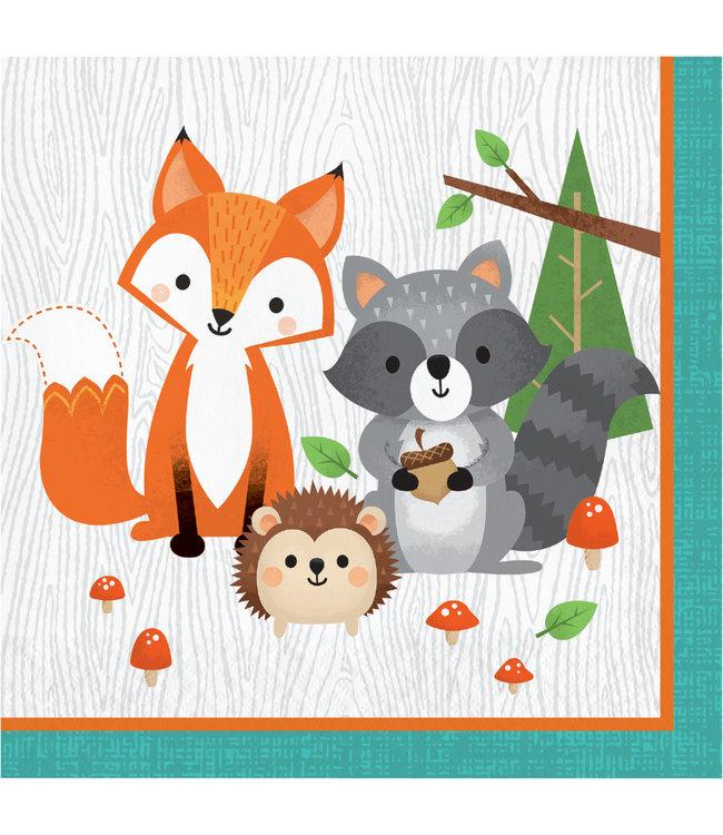 Creative Party Woodland Animals Servetten - 16 stuks - Bosdieren feestartikelen en versiering