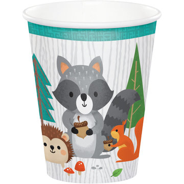 Creative Party Woodland Animals Bekers - 8 stuks - Bosdieren feestartikelen en versiering