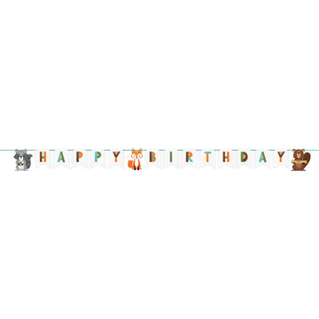 Creative Party Woodland Animals Slinger 'Happy Birthday' - per stuk - Bosdieren feestartikelen en versiering