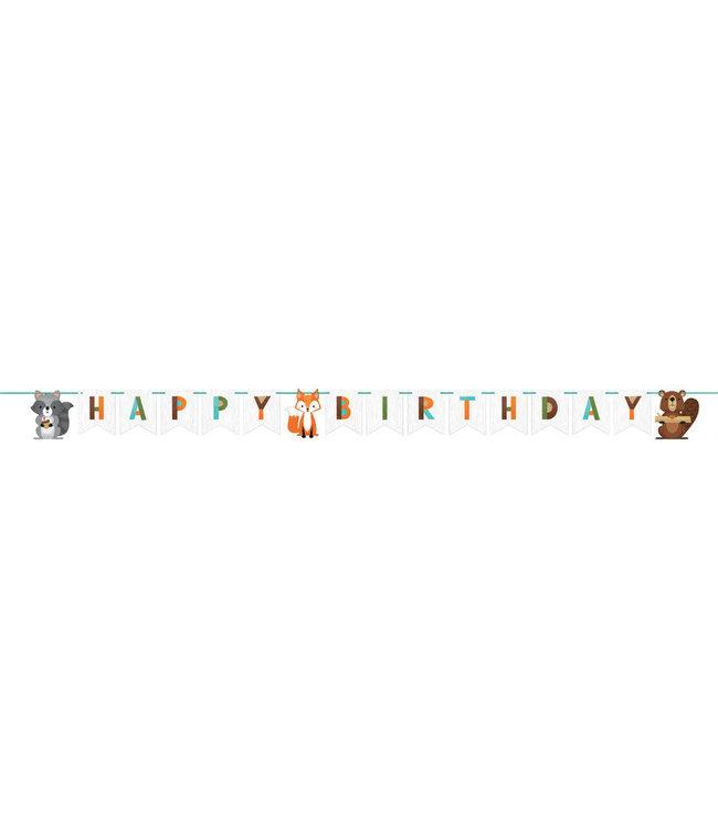Creative Party Woodland Animals Slinger 'Happy Birthday' - per stuk - Bosdieren feestartikelen en versiering